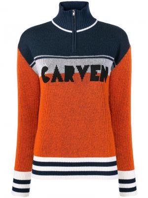 Джемпер дизайна колор-блок Carven. Цвет: оранжевый