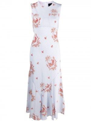 Платье в тонкую полоску с цветочной вышивкой Simone Rocha. Цвет: белый