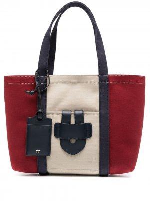 Парусиновая сумка-тоут в стиле колор-блок Tila March. Цвет: красный