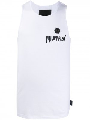 Топ без рукавов с логотипом Philipp Plein. Цвет: белый