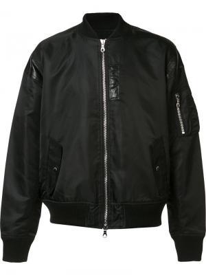 Куртка-бомбер с кожаной отделкой Mostly Heard Rarely Seen. Цвет: черный