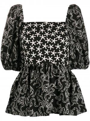 Блузка с квадратным вырезом и принтом Stine Goya. Цвет: черный