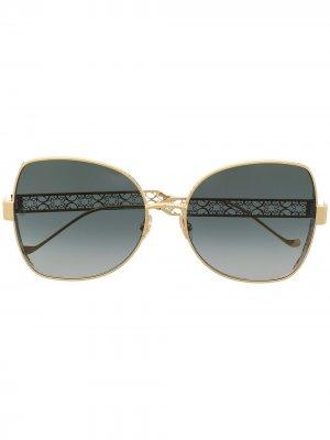 Солнцезащитные очки в массивной оправе бабочка Elie Saab. Цвет: золотистый