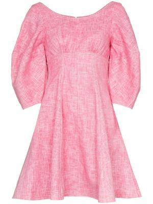 Короткое расклешенное платье Bay с рукавами-фонарик Paper London. Цвет: розовый