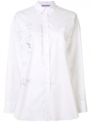 Рубашка оверсайз с принтом граффити и блестками Ermanno Scervino. Цвет: белый