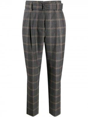 Клетчатые брюки прямого кроя Brunello Cucinelli. Цвет: серый