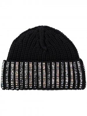 Декорированная шапка бини Ermanno Scervino. Цвет: черный
