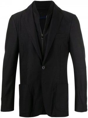 Многослойный пиджак на молнии Corneliani. Цвет: синий