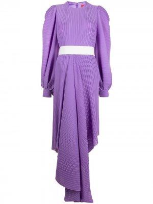 Плиссированное платье с асимметричным подолом Solace London. Цвет: фиолетовый