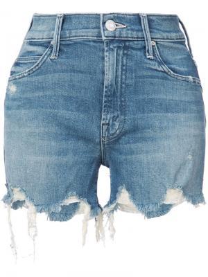 Джинсовые шорты с рваными деталями Mother. Цвет: синий