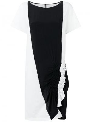 Двухцветное платье-футболка Pierantoniogaspari. Цвет: белый