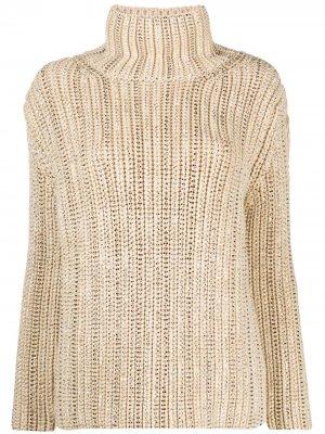 Декорированный джемпер в рубчик Ermanno Scervino. Цвет: нейтральные цвета