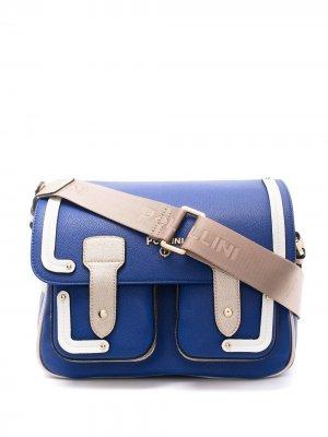 Сумка на плечо в стиле колор-блок Pollini. Цвет: синий