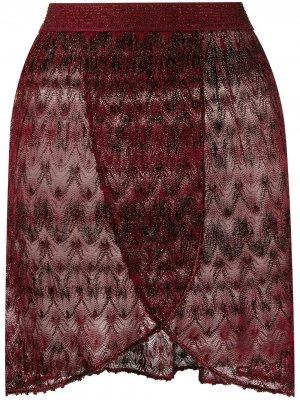 Многослойная полупрозрачная пляжная юбка Missoni Mare. Цвет: красный