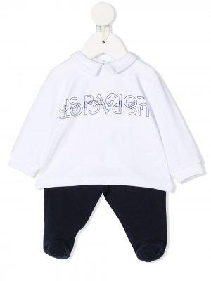 Комбинезон для новорожденного с логотипом Cesare Paciotti 4Us Kids. Цвет: синий