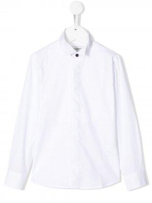 Однотонная рубашка с манишкой и длинными рукавами Paolo Pecora Kids. Цвет: белый