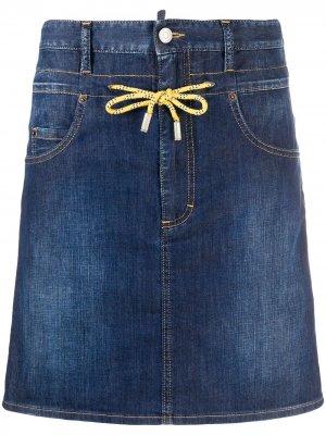 Джинсовая юбка с кулиской Dsquared2. Цвет: синий
