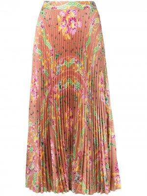 Плиссированная атласная юбка Soizic Paul & Joe. Цвет: оранжевый