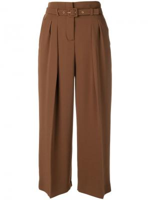 Belted wide leg trousers Ki6. Цвет: коричневый