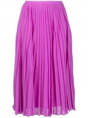 Плиссированная юбка миди Essentiel Antwerp. Цвет: розовый