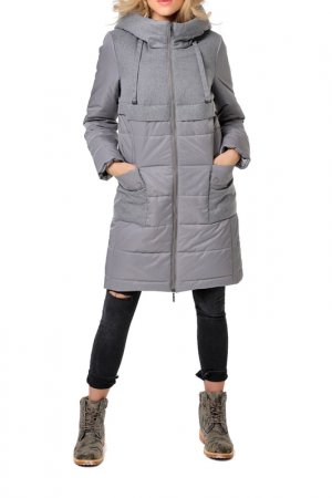 Пальто укороченное DizzyWay. Цвет: серый