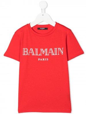 Футболка с логотипом Balmain Kids. Цвет: красный