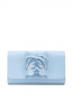 Клатч со шнуровкой Perrin Paris. Цвет: синий
