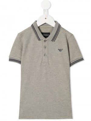 Рубашка-поло с логотипом Emporio Armani Kids. Цвет: серый