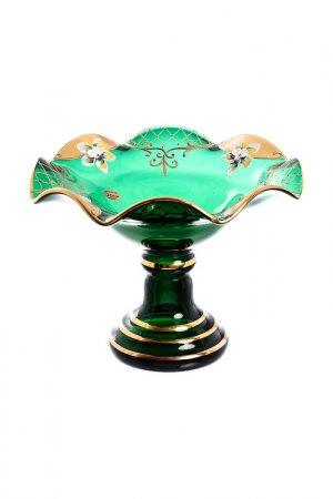 Конфетница веер 21 см Bohemia. Цвет: зеленый