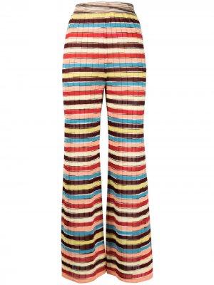 Полосатые брюки широкого кроя M Missoni. Цвет: коричневый