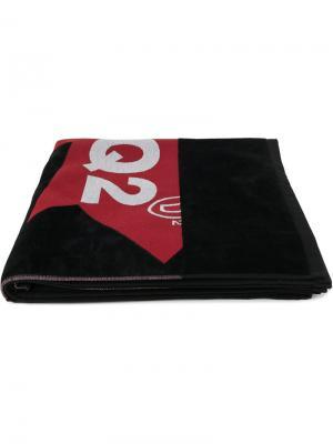 Пляжное полотенце с принтом логотипа Dsquared2. Цвет: черный