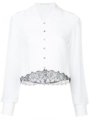 Укороченная рубашка с кружевными вставками Olivier Theyskens. Цвет: белый