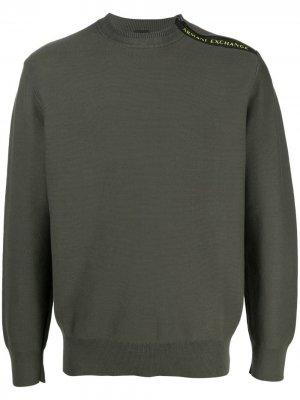 Пуловер с логотипом Armani Exchange. Цвет: зеленый