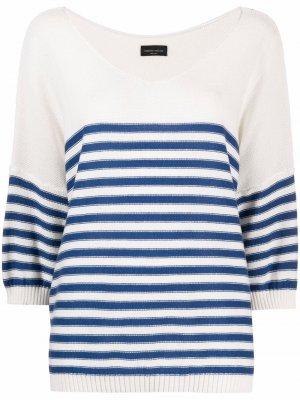 Полосатый свитер с V-образным вырезом Roberto Collina. Цвет: нейтральные цвета