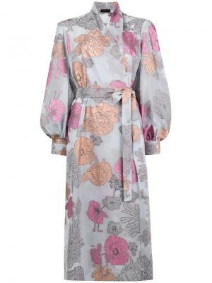 Платье-халат с цветочным принтом Stine Goya. Цвет: синий