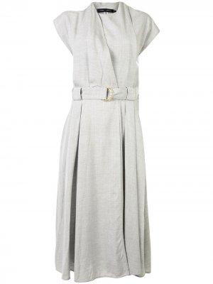 Платье миди с поясом Proenza Schouler. Цвет: серый