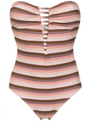 Striped swimsuit Amir Slama. Цвет: коричневый
