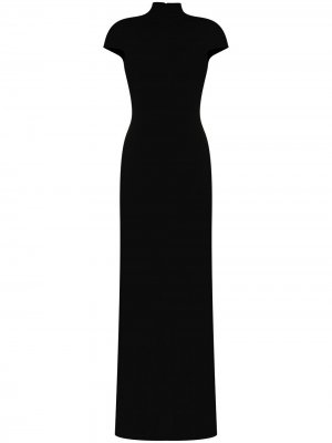 Платье макси Lang с высоким воротником Solace London. Цвет: черный