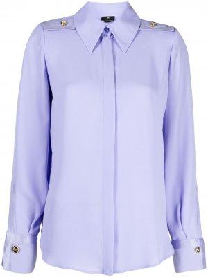 Рубашка с заостренным воротником и манжетами на пуговицах Elisabetta Franchi. Цвет: фиолетовый
