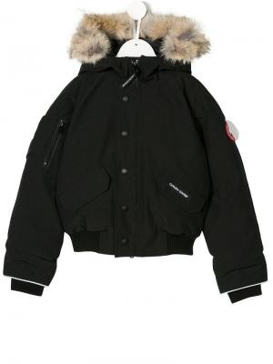 Куртка с капюшоном Canada Goose Kids. Цвет: черный