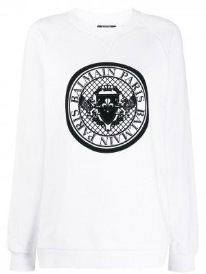 Толстовка с круглым вырезом и логотипом Balmain. Цвет: белый