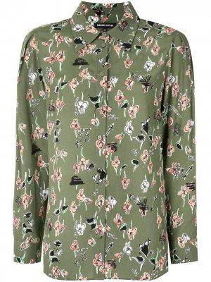Рубашка с цветочным принтом Markus Lupfer. Цвет: зеленый