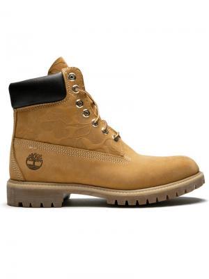 Ботинки высотой 6 дюймов Undefeated x Bape Timberland. Цвет: желтый