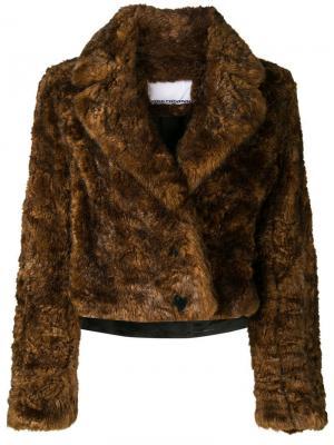 Куртка из искусственного меха Paco Rabanne. Цвет: коричневый