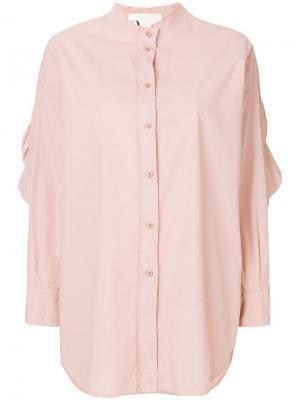 Рубашка с вырезными локтями и оборками 8pm. Цвет: нейтральные цвета