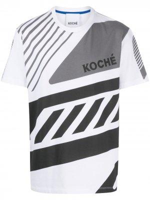Рубашка с короткими рукавами и геометричным принтом Koché. Цвет: белый