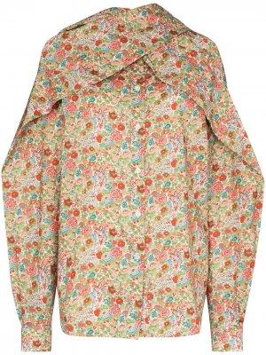 Блузка с шарфом и цветочным принтом Y/Project. Цвет: красный