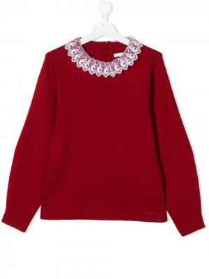 Knit sweater with logo lace detail collar Chloé Kids. Цвет: красный