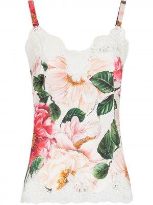 Топ-комбинация с цветочным кружевом Dolce & Gabbana. Цвет: розовый