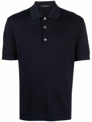Рубашка поло в клетку Ermenegildo Zegna. Цвет: синий